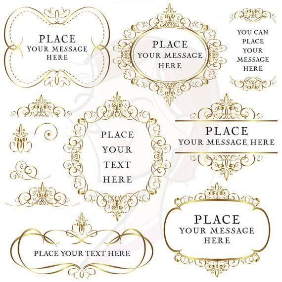 Gold Flourish Borders Frames Clip Art, Digital Vintage Decorative Clipart, Elegant Swirl Foliage Borders DIY Wedding Invitations 10053