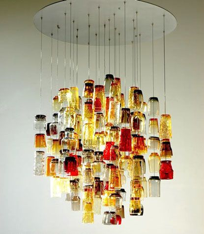"""This light sculpture is built using found 'Salvation Army"""" drinking glasses,"""