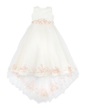 Joan Calabrese Rosette and Pearly Bead-Embellished Dress, Ivory/Pink - Neiman Marcus