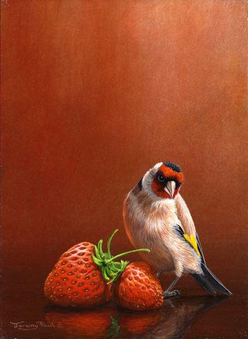 two strawberries with goldfich by Jeremy Paul