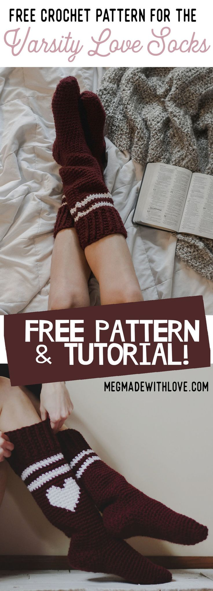 Free Crochet Pattern for the Varsity Love Socks — Megmade with Love - Crochet Socks Pattern