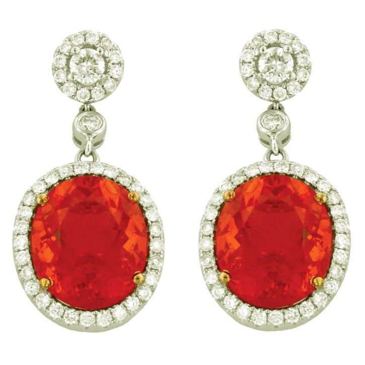 Fire opal, diamond and gold earrings by Yael Designs