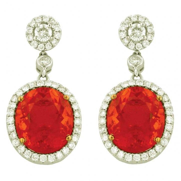 Fire opal, diamond and gold earrings by Yael Designs