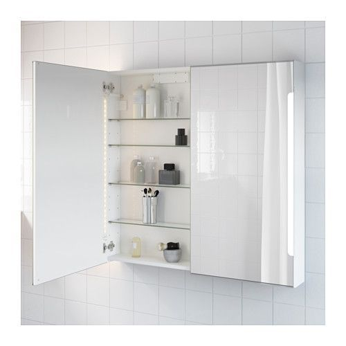 STORJORM Mirror cabinet w/2 doors & light, white white 39 3/8x5 1/2x37 3/4