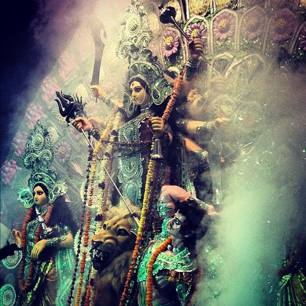 When Maa Durga rises... such a cool pic! Religious festivals and events. Symbolism and Religion.  Goddess