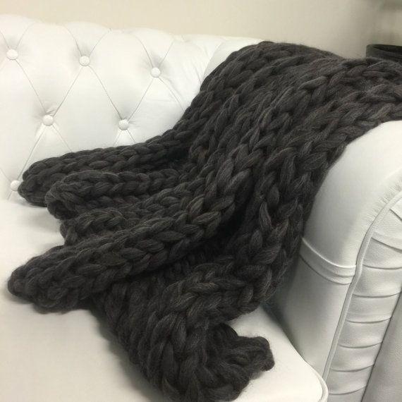 Chunky knit throw Chunky knit lap blanket rib by TheFlyingLambau