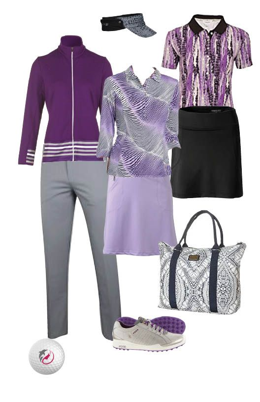 Golf Weekend. From the plane to the fairway. Galvin Green jacket, Adidas grey pants,Sport Haley golf shirt, Sport Haley skorts in black and lilac, Calvin Klein polo, Daily Sport visor, Ecco hybrid golf shoes and a Rip Curl textured tote bag.