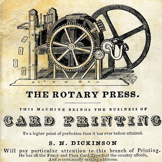 Samuel N. Dickinson, a Boston card and ephemera printer at work from 1839-1850. AAS holds some of Dickinson's business correspondence and also preserves over a dozen of his trade cards, including this one from the 1840s that features a press with finished cards flying off. A perfect ending to #typeTuesday! #ephemera #printing #tradecard #aastradecard