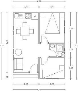 Planos Casas de Madera Prefabricadas: CASAS PREFABRICADAS 30 m2 Cod.00109