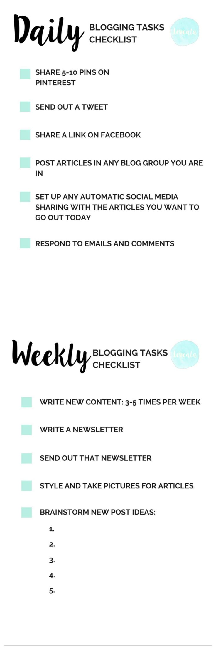 blogging checklist-daily and weekly tasks