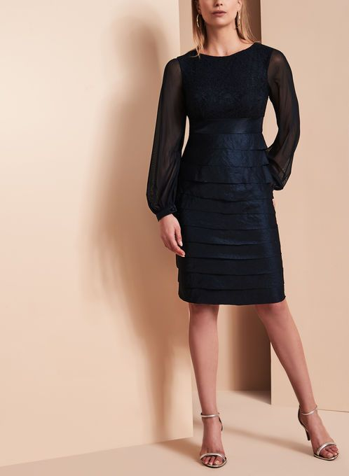 Lace Bodice Shimmer Tuck Dress
