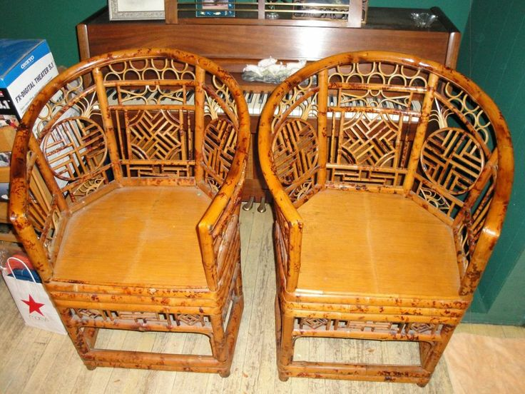 Details About 2 Rattan Chairs Chinoiserie Chinese