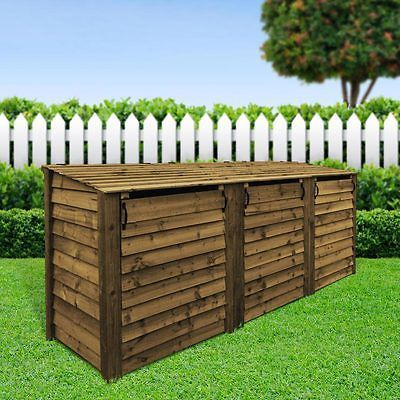 MORCOTT WOODEN TRIPLE WHEELIE BIN STORAGE UNIT in Garden & Patio, Garden Structures & Shade, Other Structures & Shade | eBay