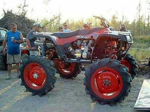 It's not a mud truck but I just had to post this redneck 4 wheeler okie style!
