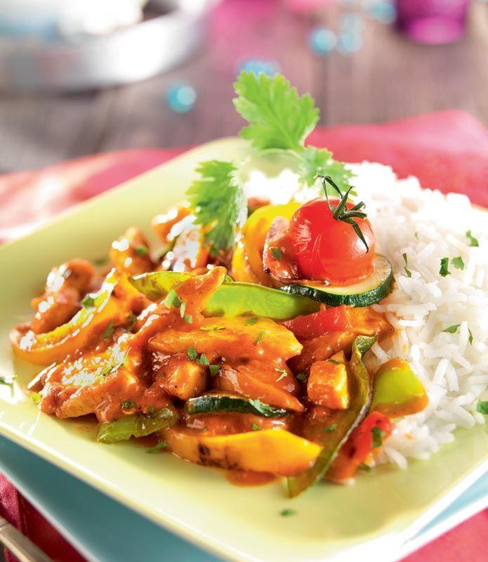 Réalisez un wok de légumes au poulet sauce tandoori