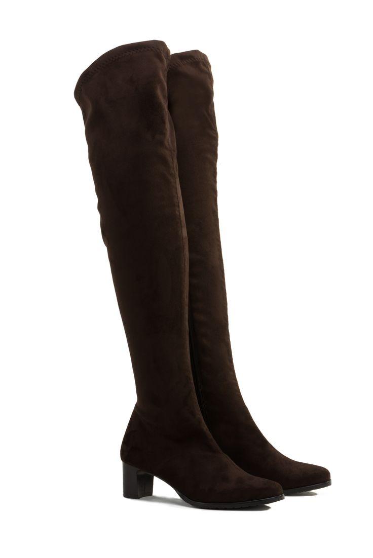 ALDA stivali con tacco sopra il ginocchio in chamois stretch testa di moro heeled over-the-knee boots in stretch suede www.nrrapisardi.it
