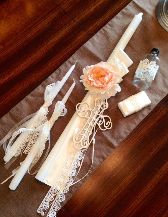 Antique Ivory Lace Greek Orthodox Baptismal Lambada by KoulEvents