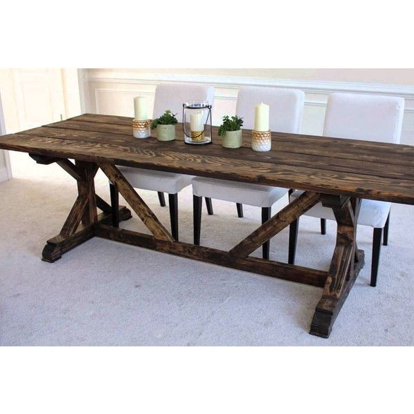 Dining Farm Style table/restaurant table/picnic table/kitchen Table ($1,349) ❤ liked on Polyvore featuring home, furniture, tables, dining tables, dining room furniture, home & living, kitchen & dining tables, white, white dining table and white outdoor dining table