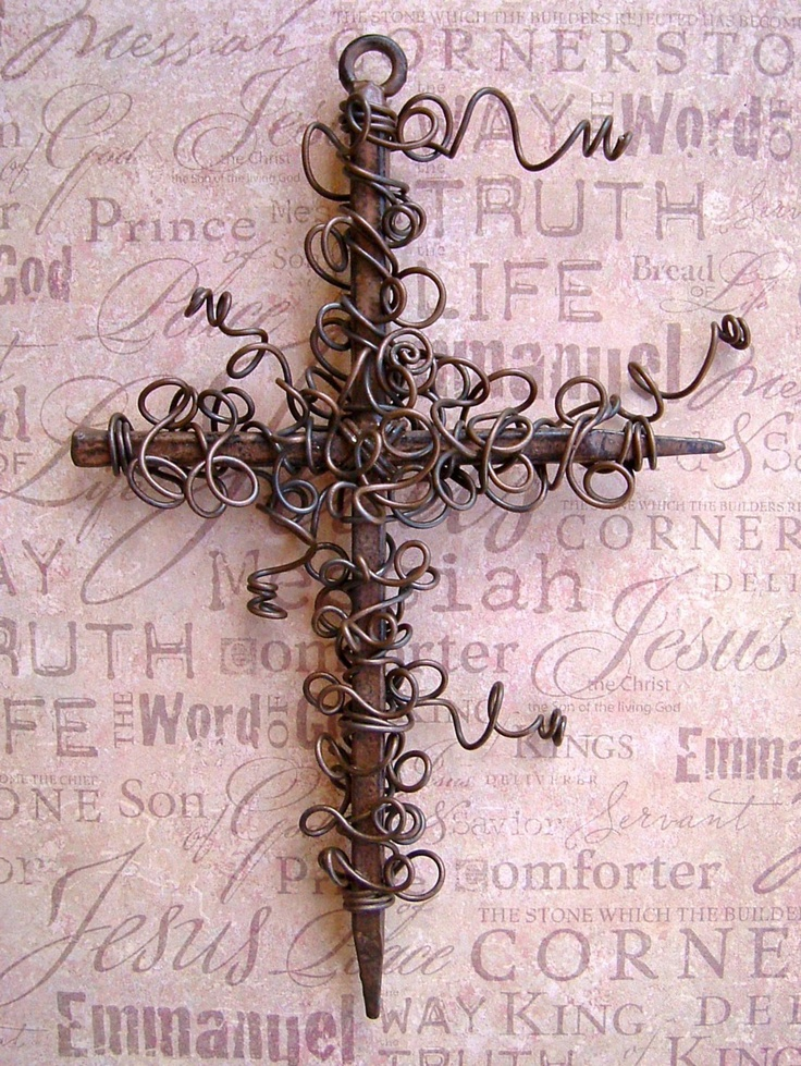 Rustic Wire Wrapped Nail Wall Cross. $21.50, via Etsy.