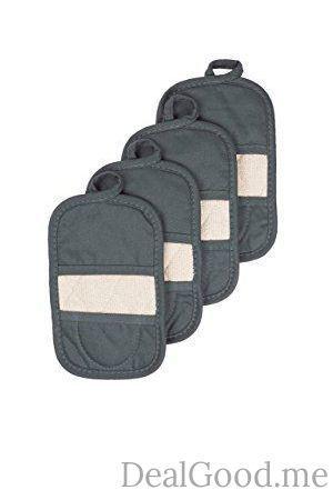 Ritz Royale Collection 100% Cotton Terry Cloth Ritz Mitz Dual-Function Pot Holder / Oven Mitt Set 4-Pack Graphite