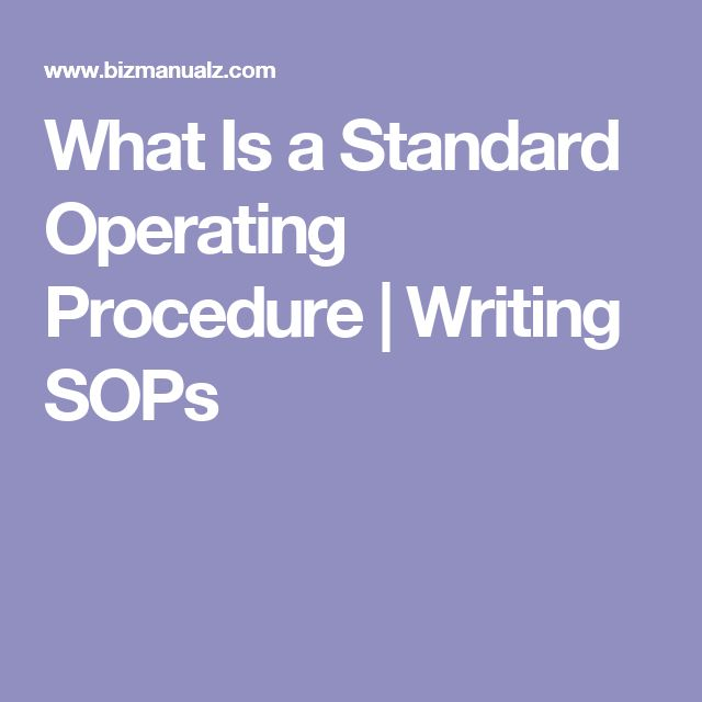 standard operating procedure manual examples