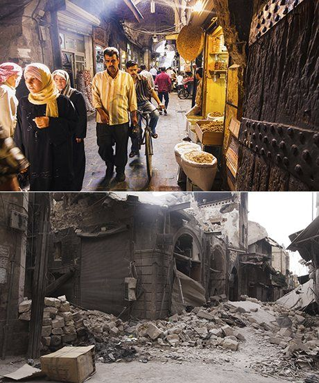 Souq Bab Antakya, Aleppo. Above in 2009 and below after an attack in 2012. Photographs: Alamy, Reuters