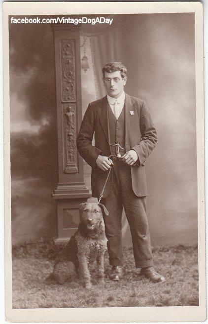 Gentleman with his Airedale Terrier