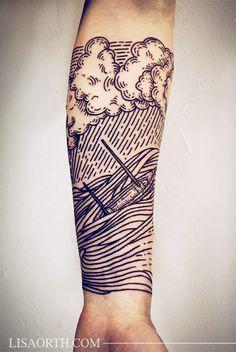 L'océan tatoué sur l'avant bras #tatouage #tattoo #ocean #bateau #marin #sailor #sea #tattoosmensforearm