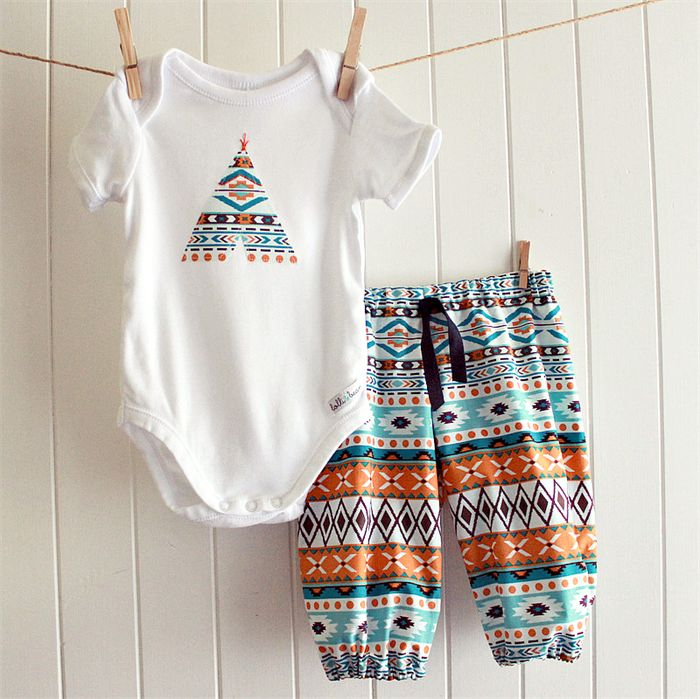 baby boy outfit | onesie & pants | aztec print teepee | lolli & bean | madeit.com.au