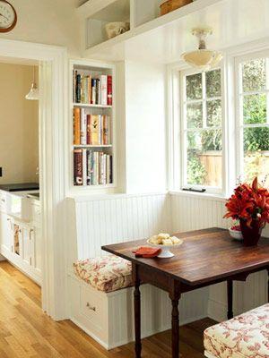 nook and book shelves: Kitchens, Interior, Idea, Built In, Breakfast Nooks, Breakfastnooks, Kitchen Nook, House