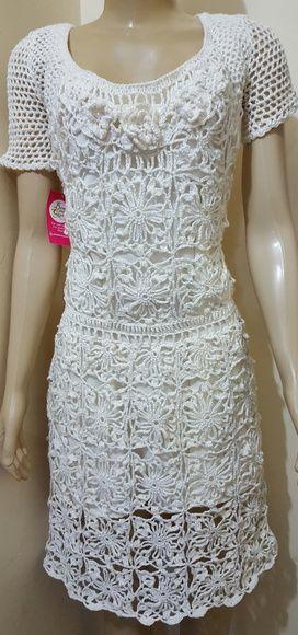 55ad8f58a Compre Vestido Crochê Adulto no Elo7 por R  569