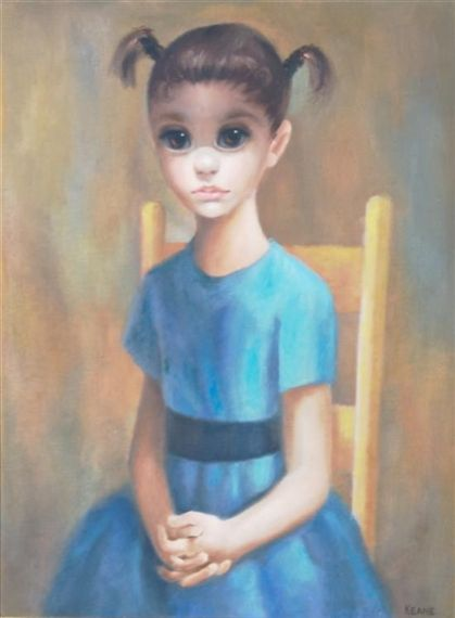 """""""Girl on Chair"""" by artist Margaret Keane"""