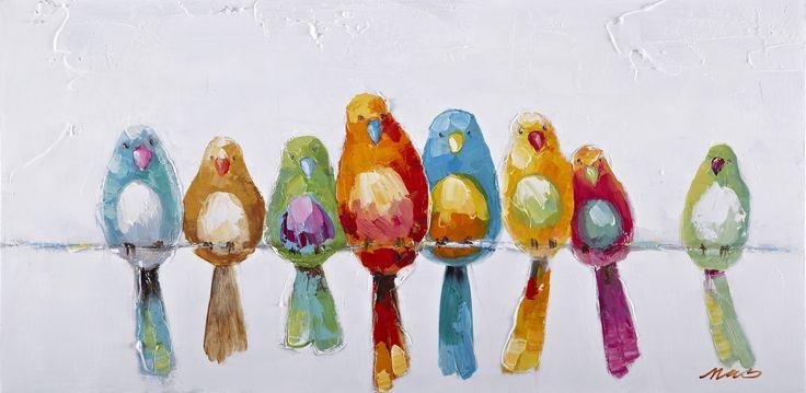 Trendykunst presenteert dit prachtige schilderij van kleurrijke vogels.  Olieverf schilderijen zijn met de hand geschilderd op doek.