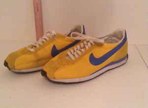 Vintage 1970s / 1980's Nike Waffle Trainer Running Sneaker Yellow/Blue Size 13