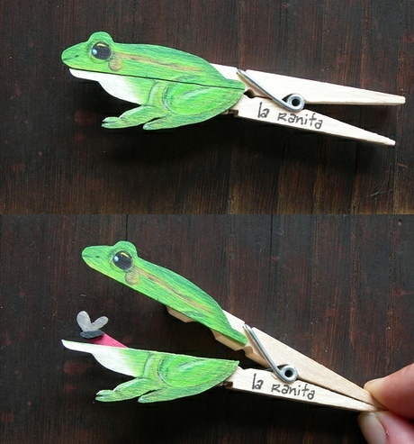 Clever clothespin crafts - frog