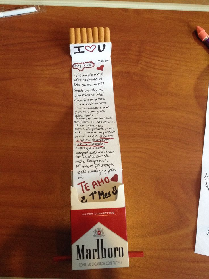 Carta en cajetilla de cigarros