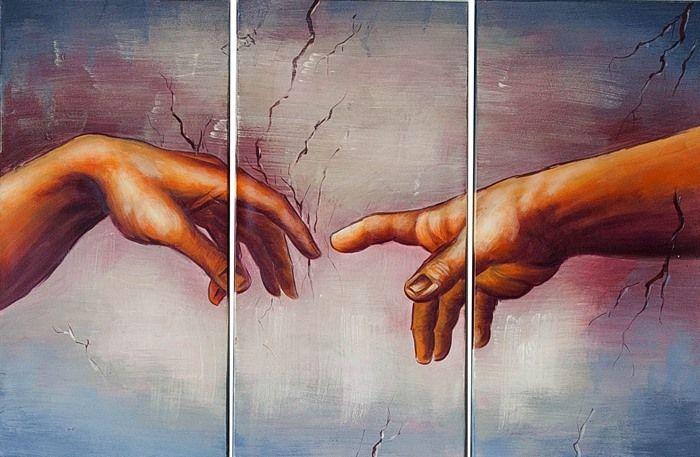 PALEC BOŻY Stworzenie Adama ręcznie malowany obraz