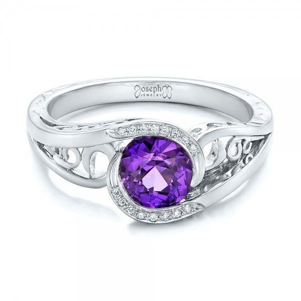 Custom Purple Sapphire and Diamond Engagement Ring