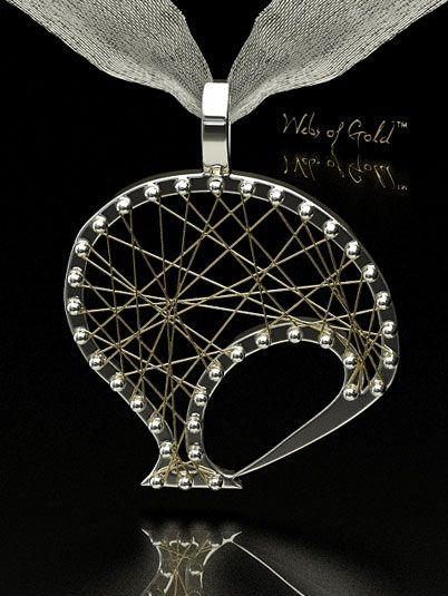 Peter Shakes Jeweller | Collections | Webs Of Gold Nature And Living Things | P1601 Kiwi Pendant In White And Yellow Gold - want it in all white