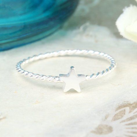 Silver Rope Band Star Ring at lisaangel.co.uk