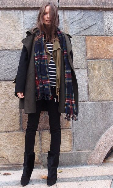 Striped blouse, jacket, plaid muffler and overcoat with black skirt, black tights, and black boots. Layers.