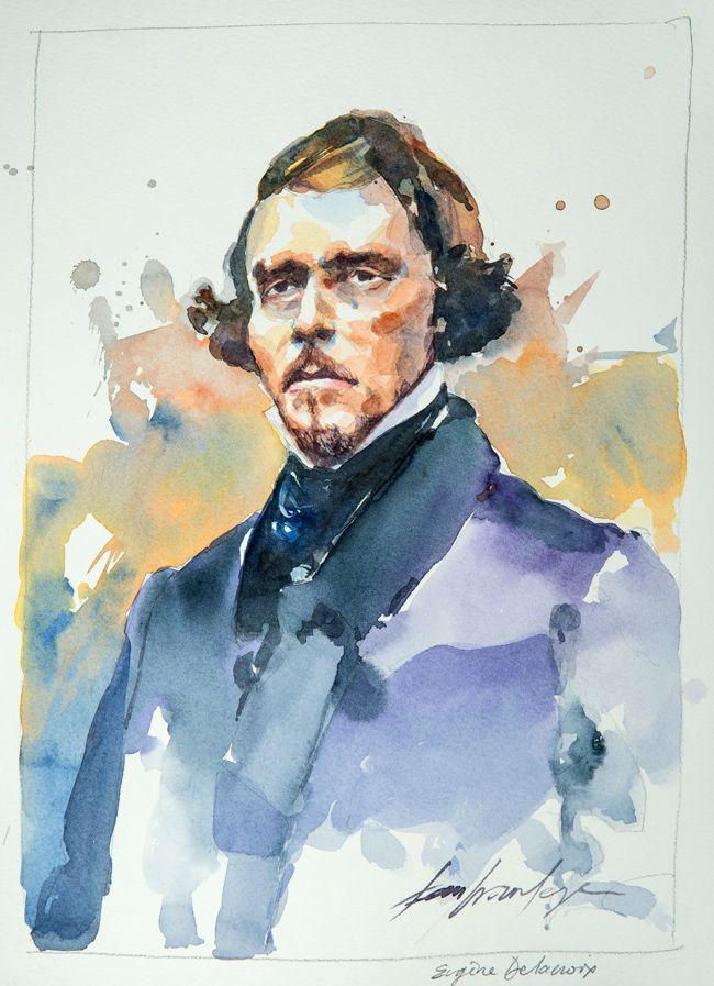 Eugène Delacroix. Une série de portraits à l'aquarelle en hommage aux grands artistes du 19 ème au 20 ème siècle. Le lien vers mon blog : www.humericbox.com