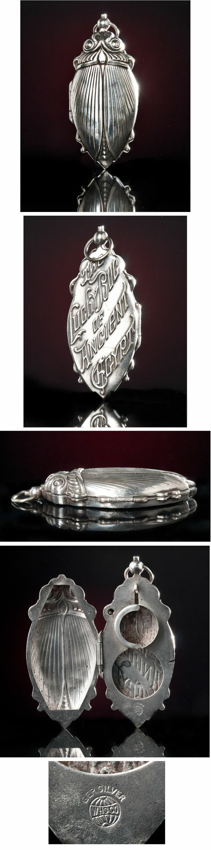 1 Rare Lucky Bug of Ancient Egypt WHS Co 1920s Big Scarab Coin Purse German Silver