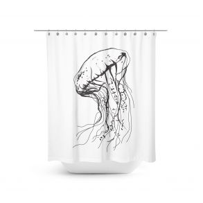 Jellyfish - Shower curtain This giant jellyfish is an amazing decoration for a bathroom.