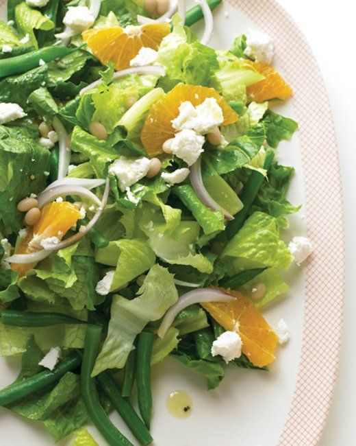 Mediterranean Salad with Green Beans and Feta | Feta and white beans provide plenty of protein in this main-course salad. If you don't have white-wine vinegar, you can substitute red-wine or balsamic vinegar.