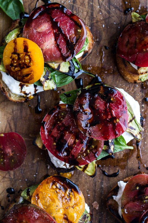 Grilled Caprese Toast with Burrata Cheese + Grilled Avocados | halfbakedharvest.com
