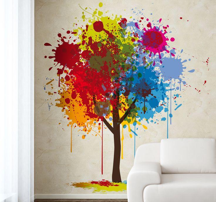 Paint splash tree wall sticker paint art colour tree for Color splash wall art