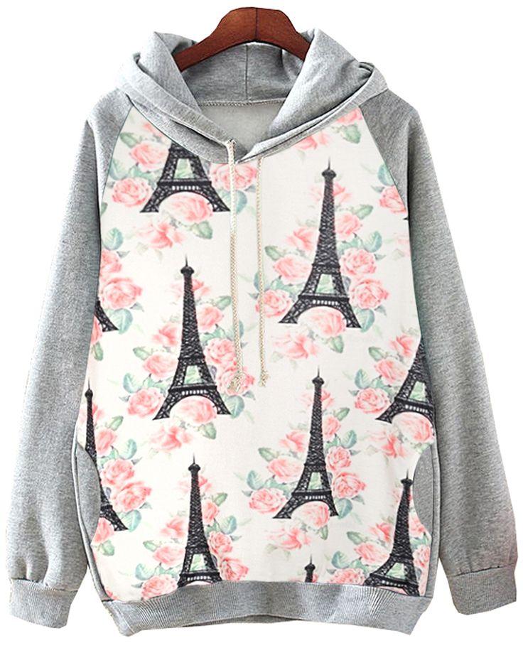 Sudadera con capucha Tower Eiffel Floral-gris 17.59