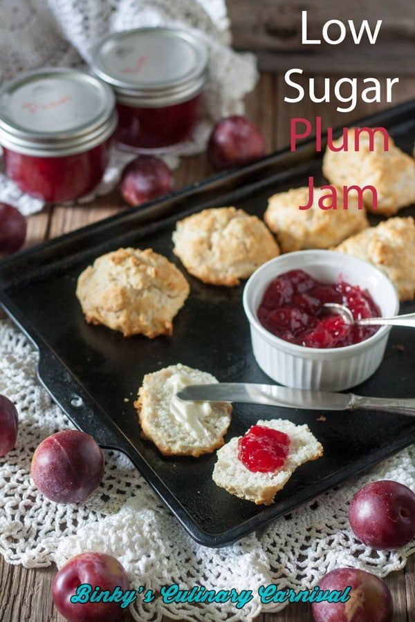 Low Sugar Plum Jam Recipe Binky S Culinary Carnival Pinterest