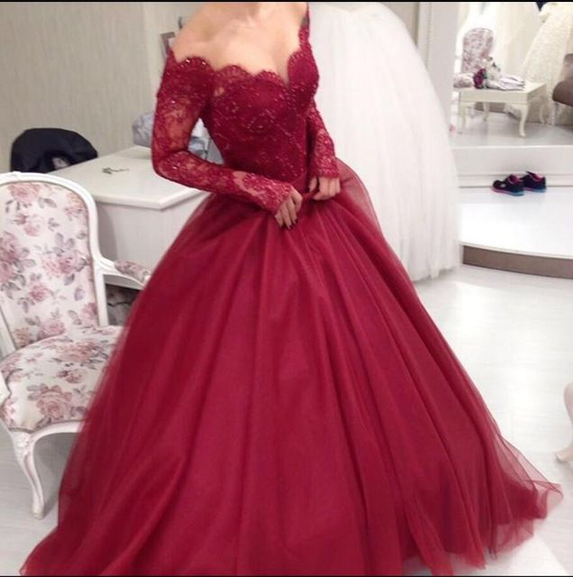 Vintage Burgundy Red Long Sleeves Lace Tulle Colorful Ball Gown Wedding Dresses Robe de mariee Wedding Gowns Vestido de noiva